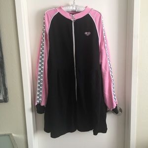 e63f25662be Lazy Oaf Dresses - Lazy Oaf Sports Club Zip Sweater Dress